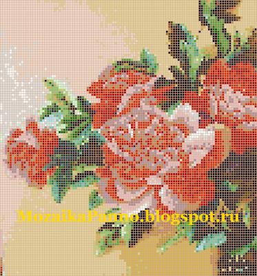 Картина из стеклянной мозаики  «Пионы»