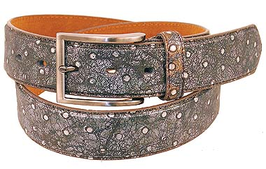 Silver/black Ostrich Leather Belt