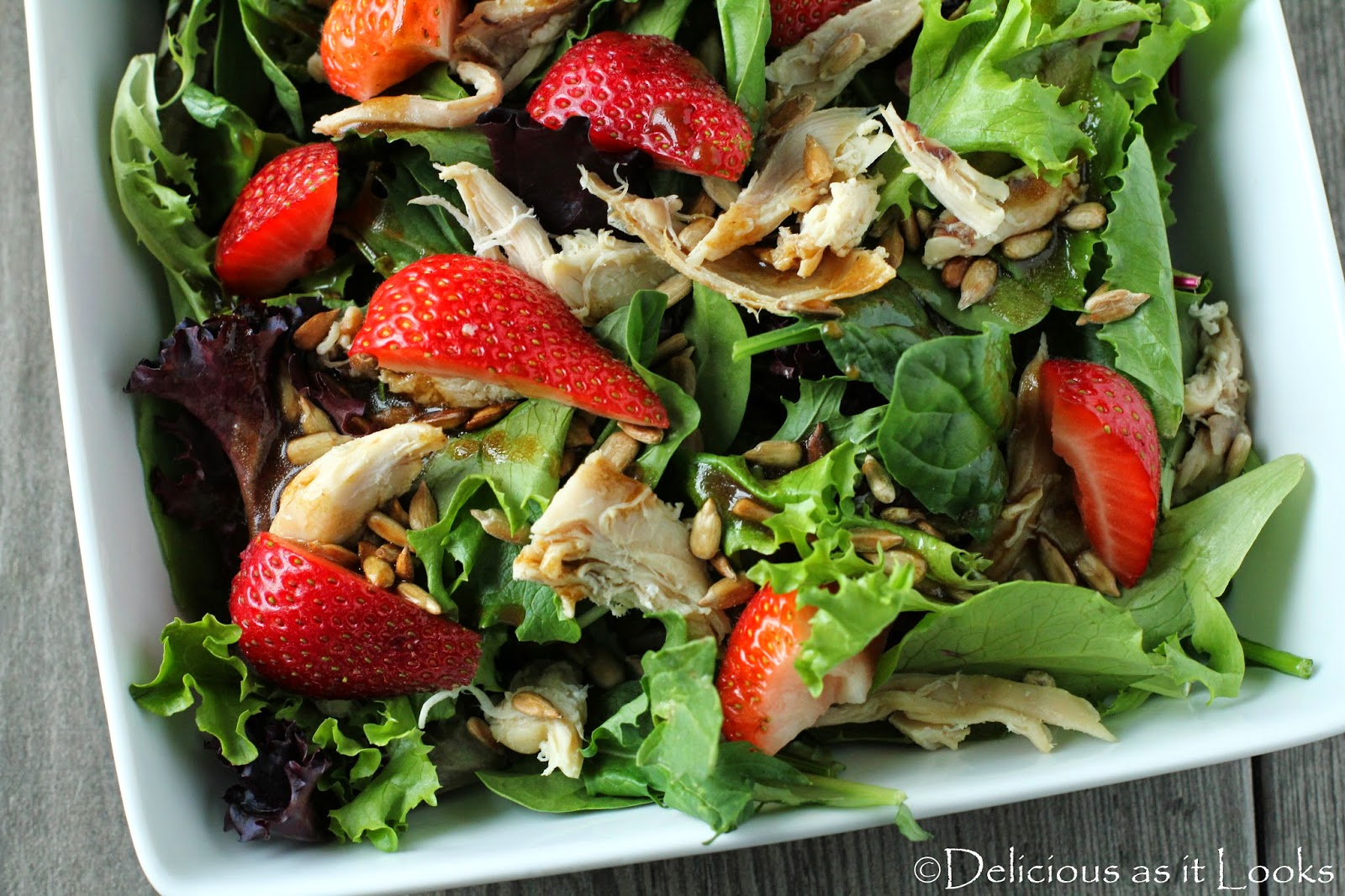 Balsamic Chicken Salad with Strawberries   /  Delicious as it Looks