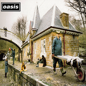 Band Oasis Song Some Might Say Single Artwork of a man in a wheelbarrow in front of a bridge and house