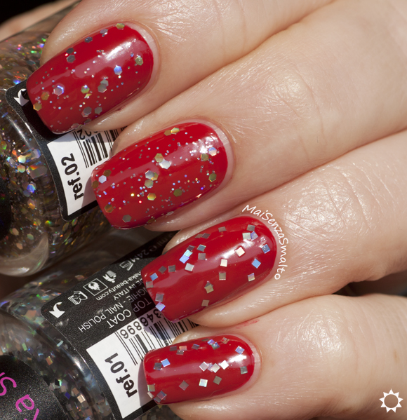 Shaka Glitter top coat: 01 Mirrorball - 02 Starlight su rosso OPI