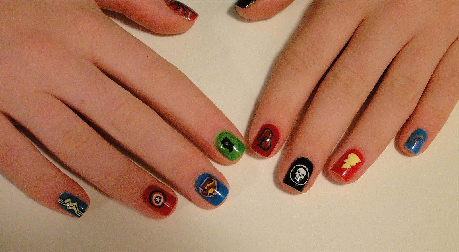 Weeklywackynails superhero nail art for this weeks manicure i painted ten symbols of ten different superheros some well known and others not so much i didnt have a ton of time to do these prinsesfo Gallery
