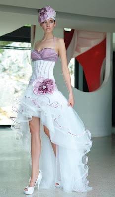 abito da sposa corto lilla