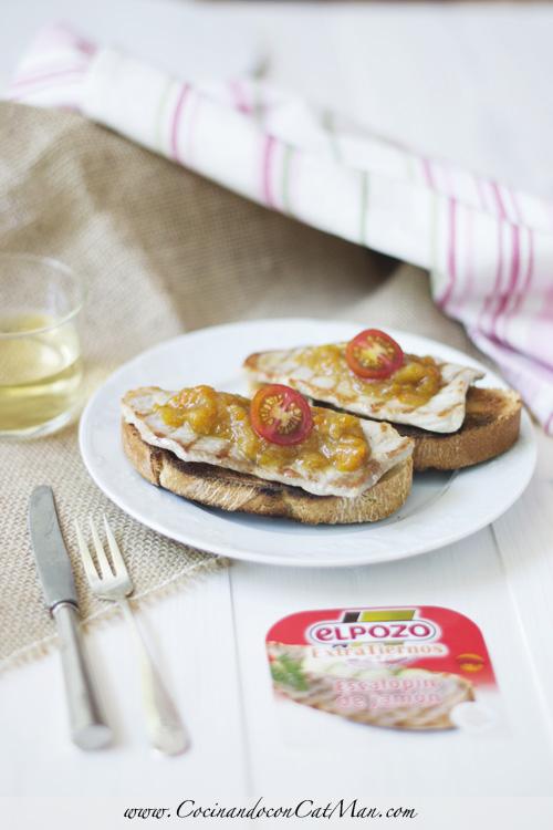 receta de tosta de escalopines con chutney de mango