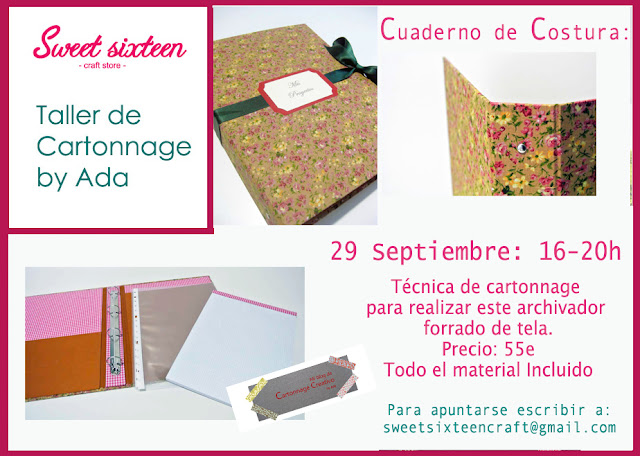 Taller Cartonnage by ADA en Sweet sixteen craft store Madrid