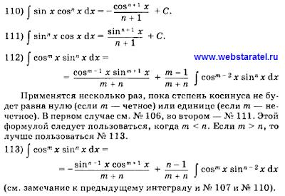 Таблица интегралов. Формулы интегралов произведение синуса и косинуса. Математика для блондинок.