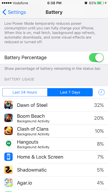 Battery Usage dawn of steel