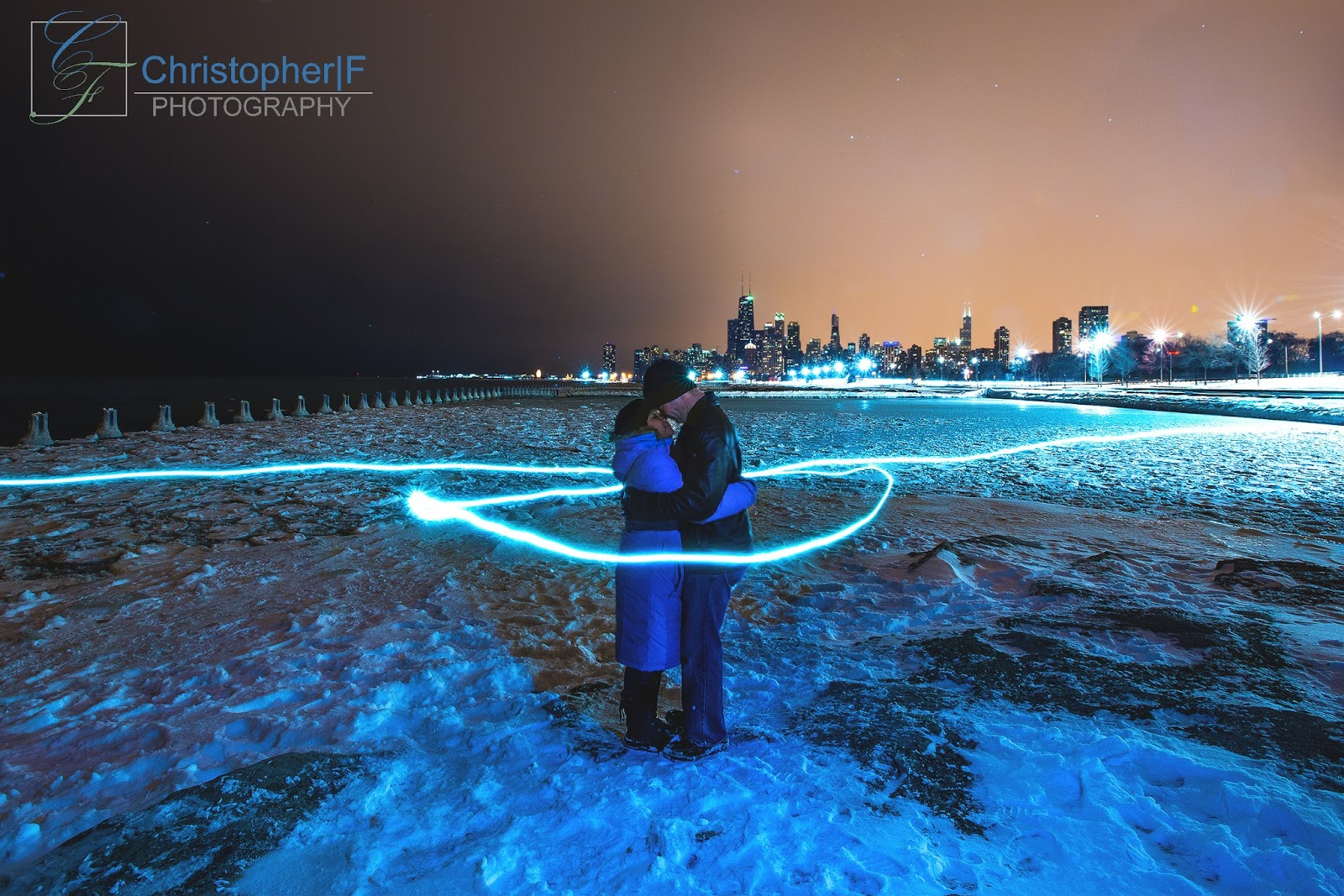 Chicago Night Light Painting Engagement Photo