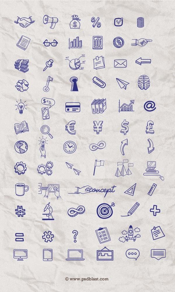 70+ Hand Drawn Icon Set PSD