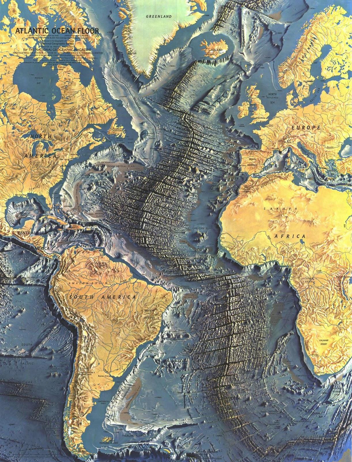 A detailed map of the Atlantic ocean floor