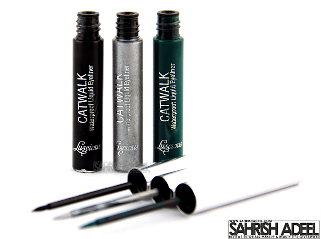 Catwalk Liquid Eye Liners in 'Black, Metallic Silver & Green' by Luscious Cosmetics