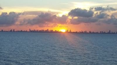 Sunset from cruise ship balcony in Florida
