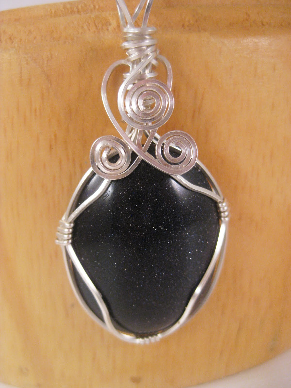 Blue Goldstone Silver Wire Wrapped Pendant