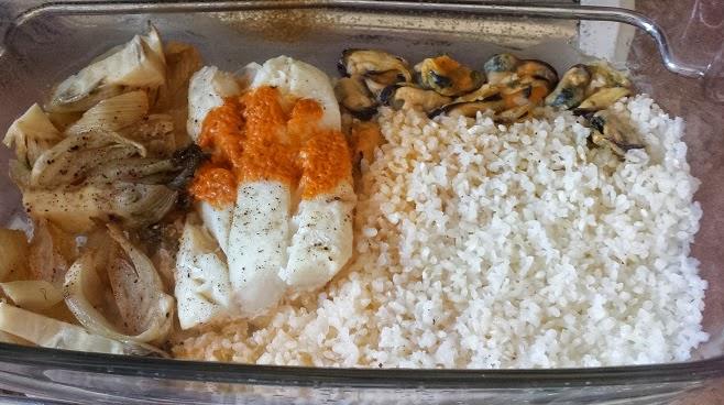 Les recett jo dos de cabillaud moules fenouil et riz - Cuisiner poisson congele ...