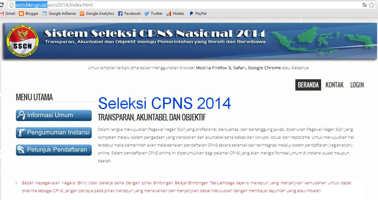 http://sscn.bkn.go.id/ Siap Digunakan Pendaftarab CPNS 2014