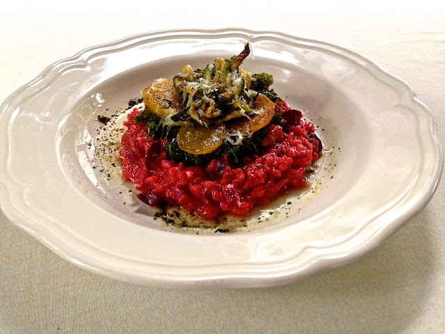 red beet risotto with golden beets, sautéed kale, and pan-fried zucchini (gf)