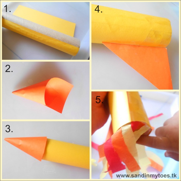 Instructions to make a craft rocket for play.