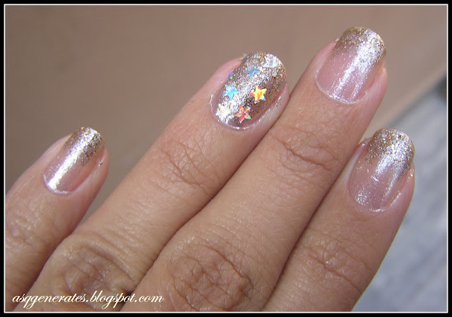 gold and silver glitter nail art