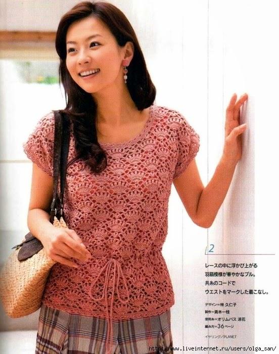 Blusa de dama al crochet - con esquemas y moldes