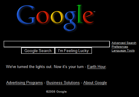 google black homepage