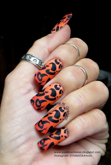 Sally Hansen Peach of Cake, Revlon Siren, American Apparel Poppy, gradient, Ali Express 12-50 stamp, Halloween