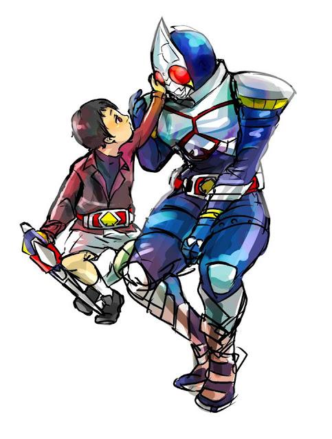 Gambar, Ilustrasi, Kamen Rider, Ksatria Baja Hitam,  Masa Kecil, Kamen Rider Blade