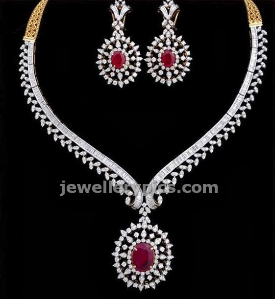 vasundhara diamonds classic jewellery with ruby studded diamond necklace
