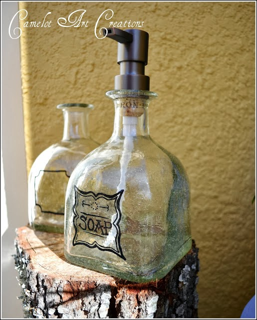 http://camelotartcreations.blogspot.com/2012/02/up-cycled-soap-dispensers-patron.html