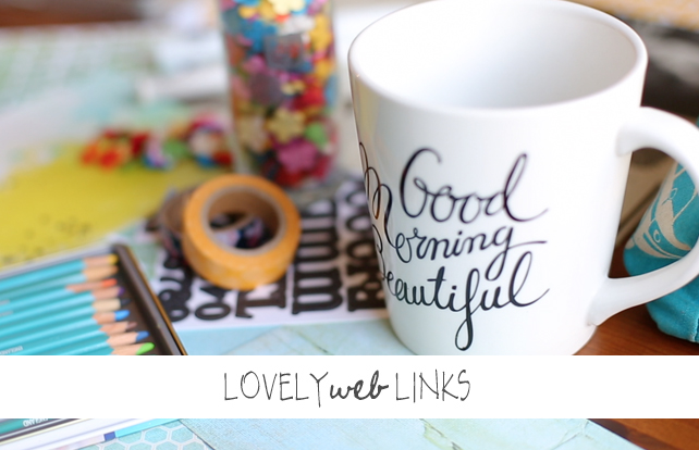 Lovely Web Links by Lesley Myrick Art + Design. Link roundup featuring Canva, career tips for smart women, a free printable, Seth Rogen's thoughts on marriage, how to create the perfect cat eye, Jamie the Very Worst Missionary's #veryworstdietbet, and a huge giveaway!