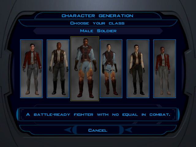 Knights of the Old Republic character generation choose class screen