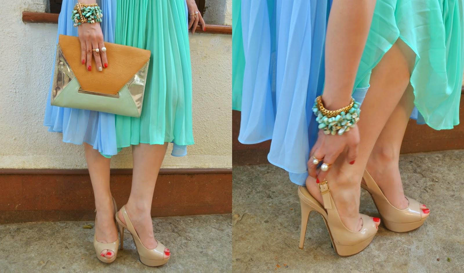 Nude Heels, Aldo Envelope clutch, Turquoise Bracelt, Pearl Rings