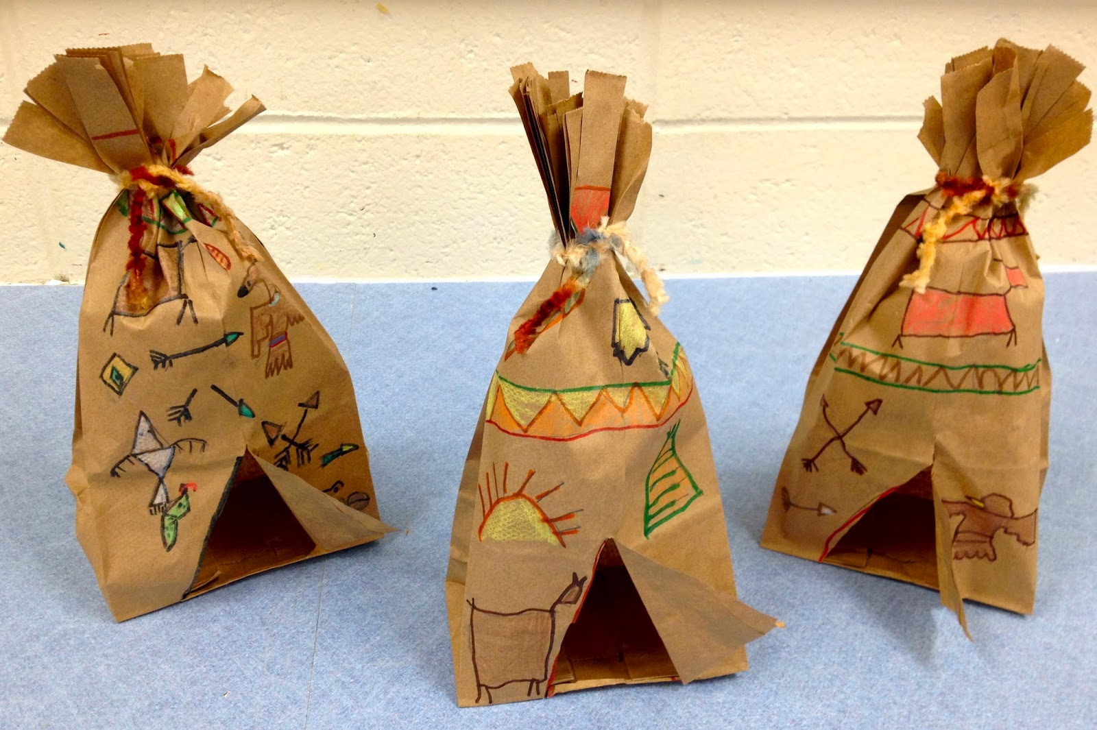 Art with mr giannetto 1st grade tepees for Brown paper bag crafts for preschoolers