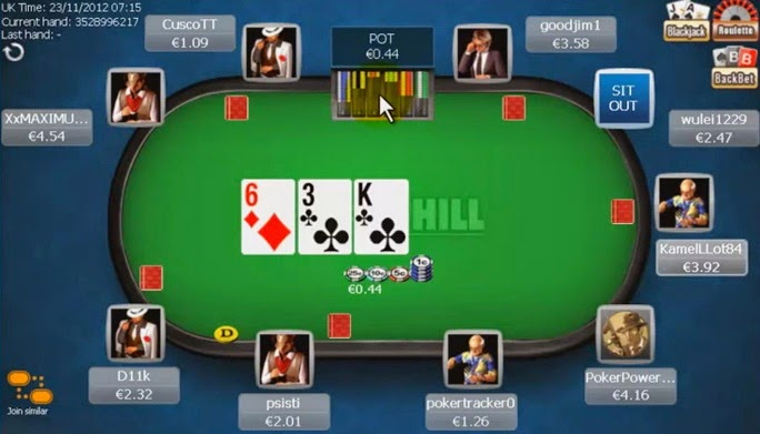 William Hill Poker Table Screen