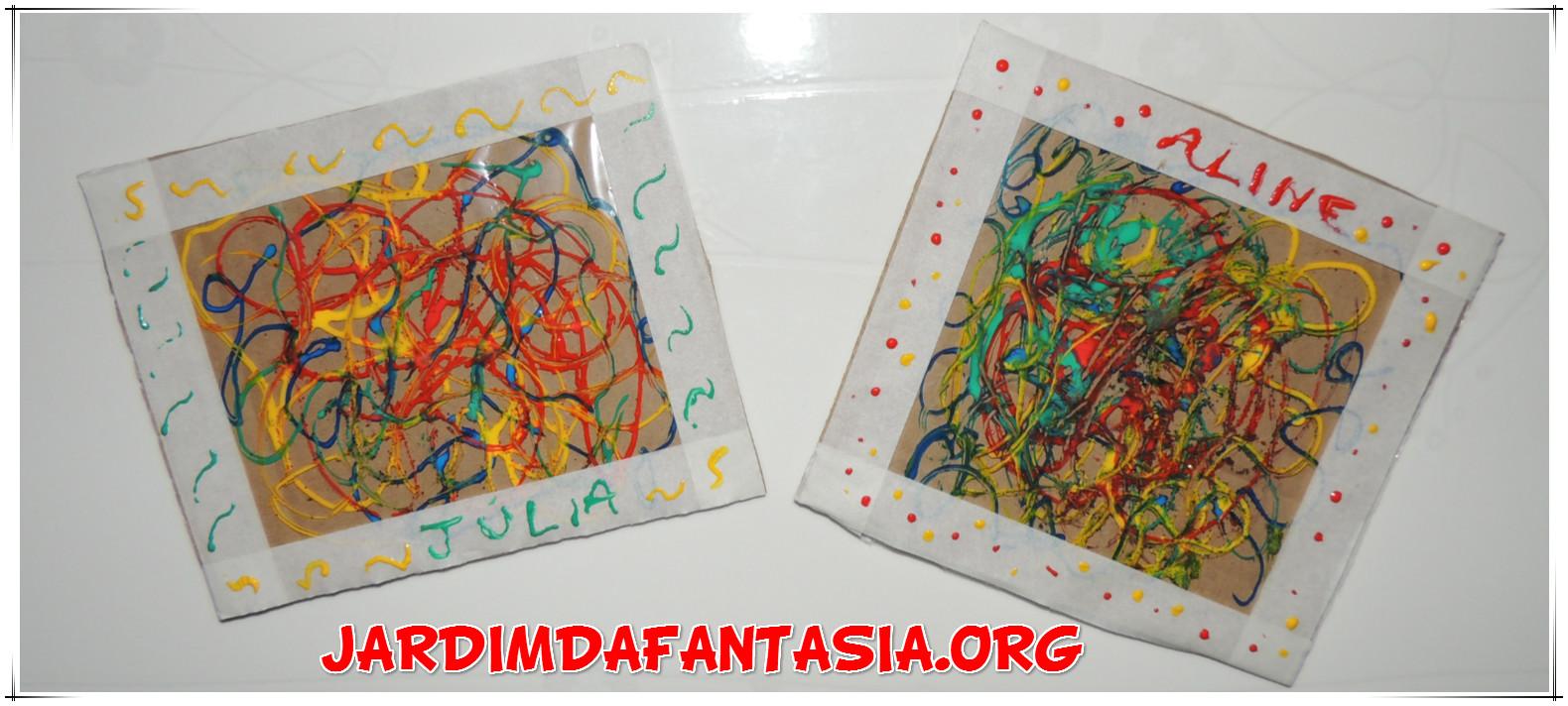 Muito Atividades Jardim da Fantasia: Artes Visuais Pintura com cola colorida TA16