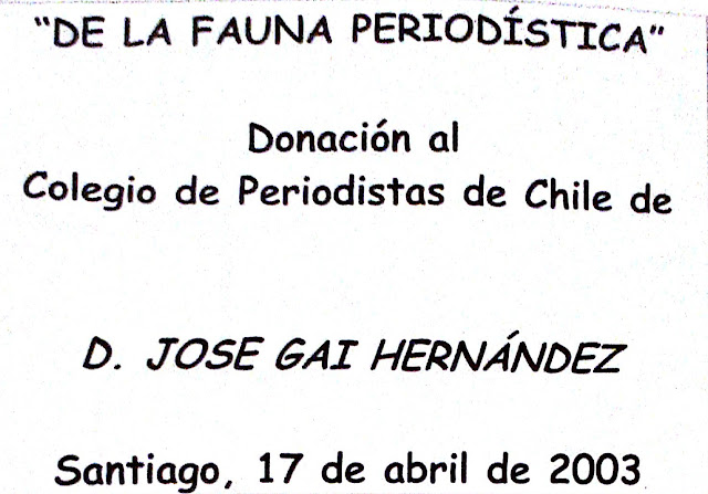 Para sonreír: Fauna Periodística Chilena por Malatesta (periodista José Gai Hernández)