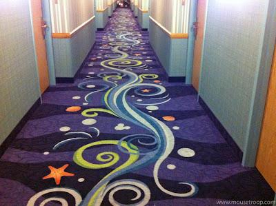 Paradise Pier Hotel Disneyland Resort carpet pattern hallway