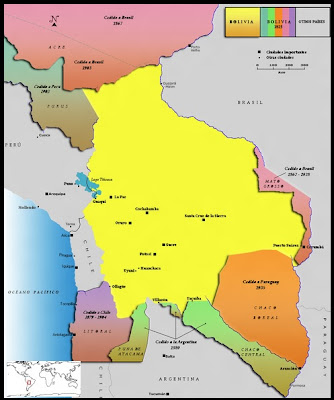 Mapa Territorios perdidos por Bolivia por guerra o diplomacia según la historiografía boliviana