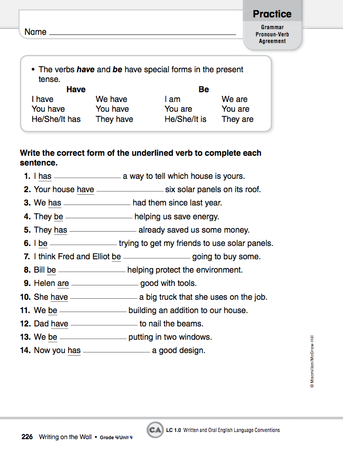 Worksheets Pronoun Verb Agreement Worksheet homework 2012 2013 january 23rd pronoun verb agreement agreement