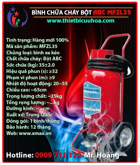 bình chữa cháy dạng bột khô tổng hợp abc xe đẩy mfzl35 35kg
