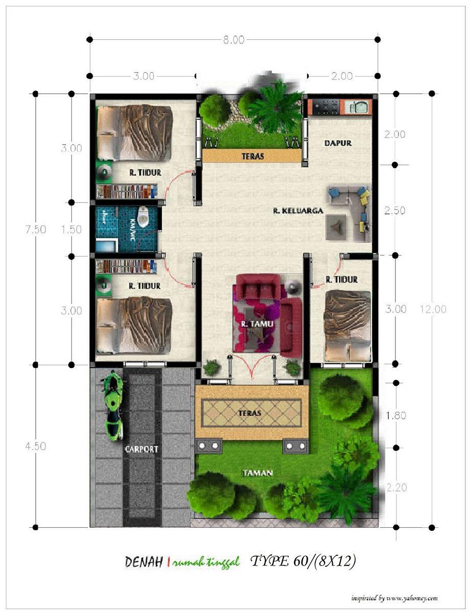 contoh sketsa denah rumah type 60 populer