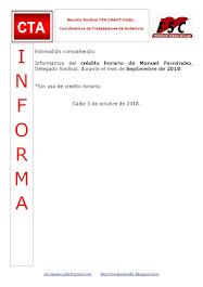 C.T.A. INFORMA CRÉDITO HORARIO MANUEL FERNANDEZ, SEPTIEMBRE 2018