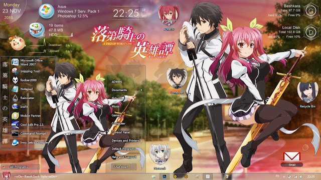 Theme Windows 7 Rakudai Kishi no Cavalry By Bashkara
