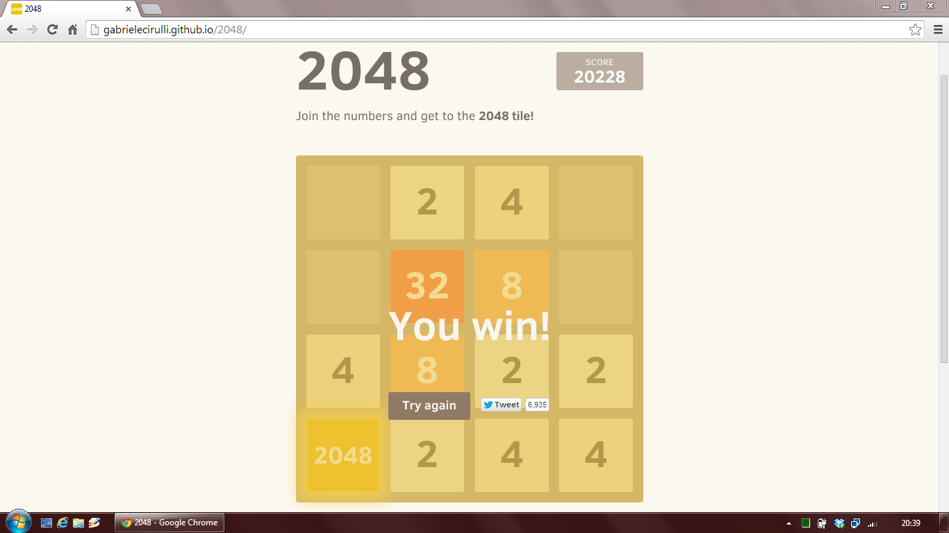 2048: You win!