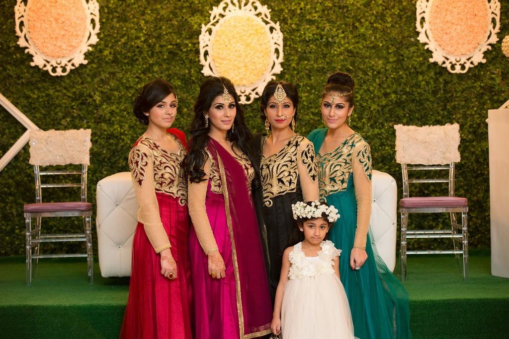 south asian wedding, wedding decor, bridesmaids