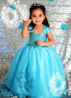 Dress elsa frozen warna biru cantik untuk anak perempuan