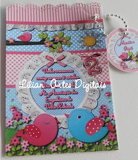 Convite de passarinho azul e rosa