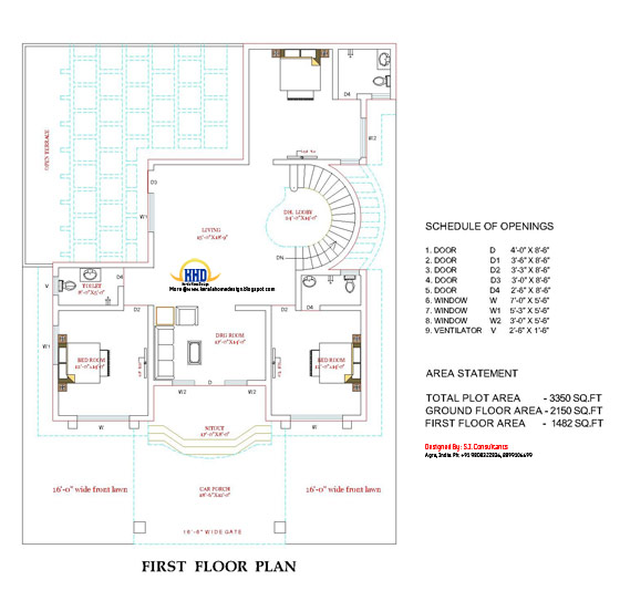 First floor plan of beautiful double story house - 3350 Sq. Ft.  (311 Sq.M.) (372 Square Yards) - April 2012