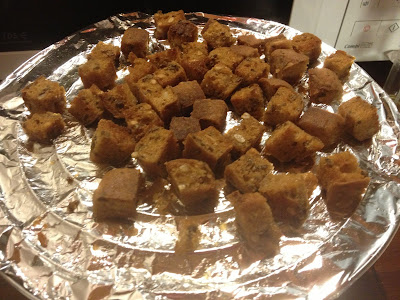 gluten free croutons on grill rack