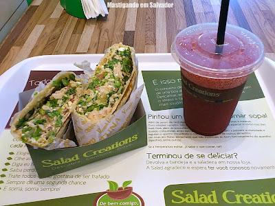 Salad Creations: Wrap Club Peru e Suco de Frutas Vermelhas e Uva