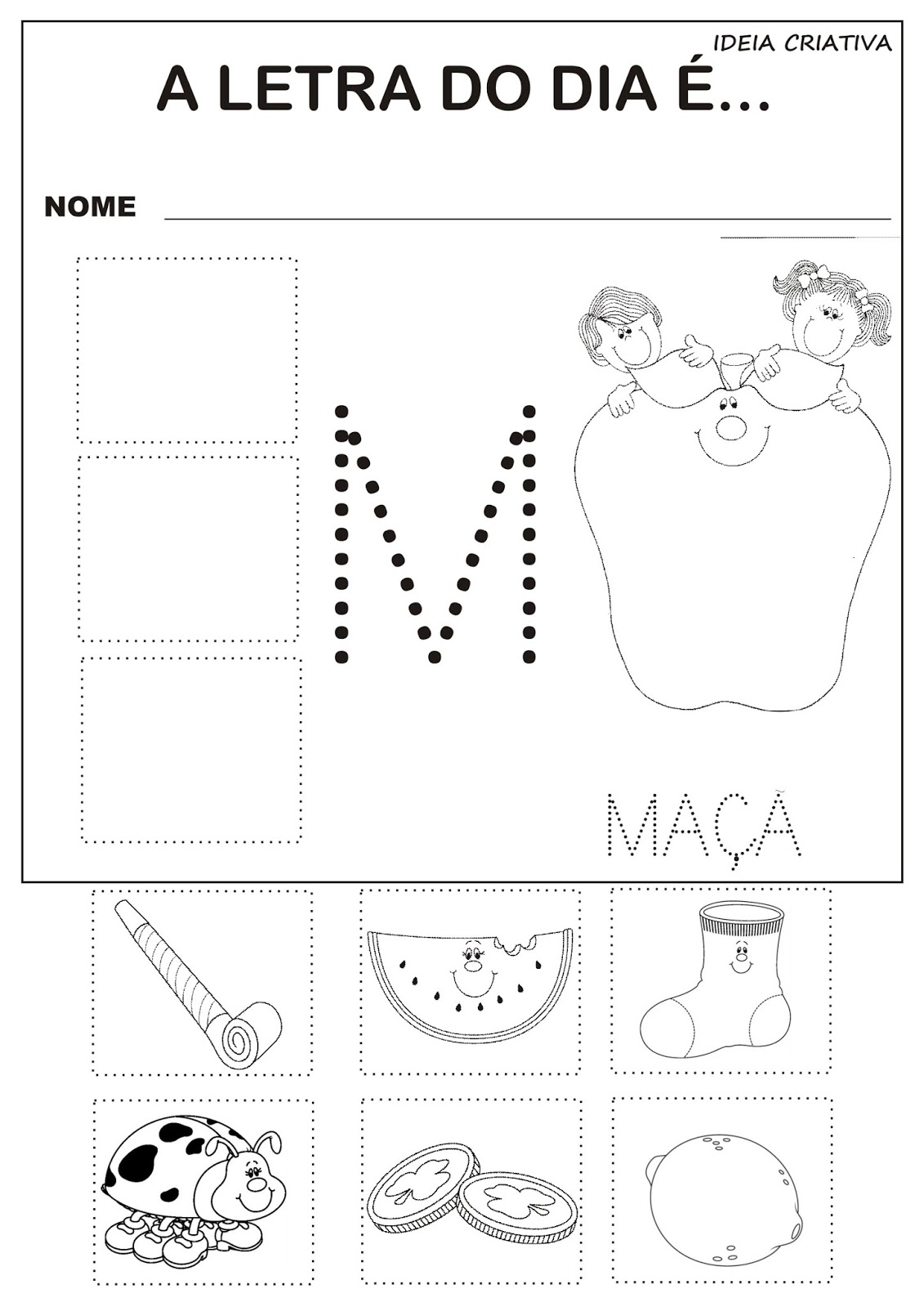 Excepcional Atividade Letra M Corte e Recorte Educativo com Pontilhado  AF51